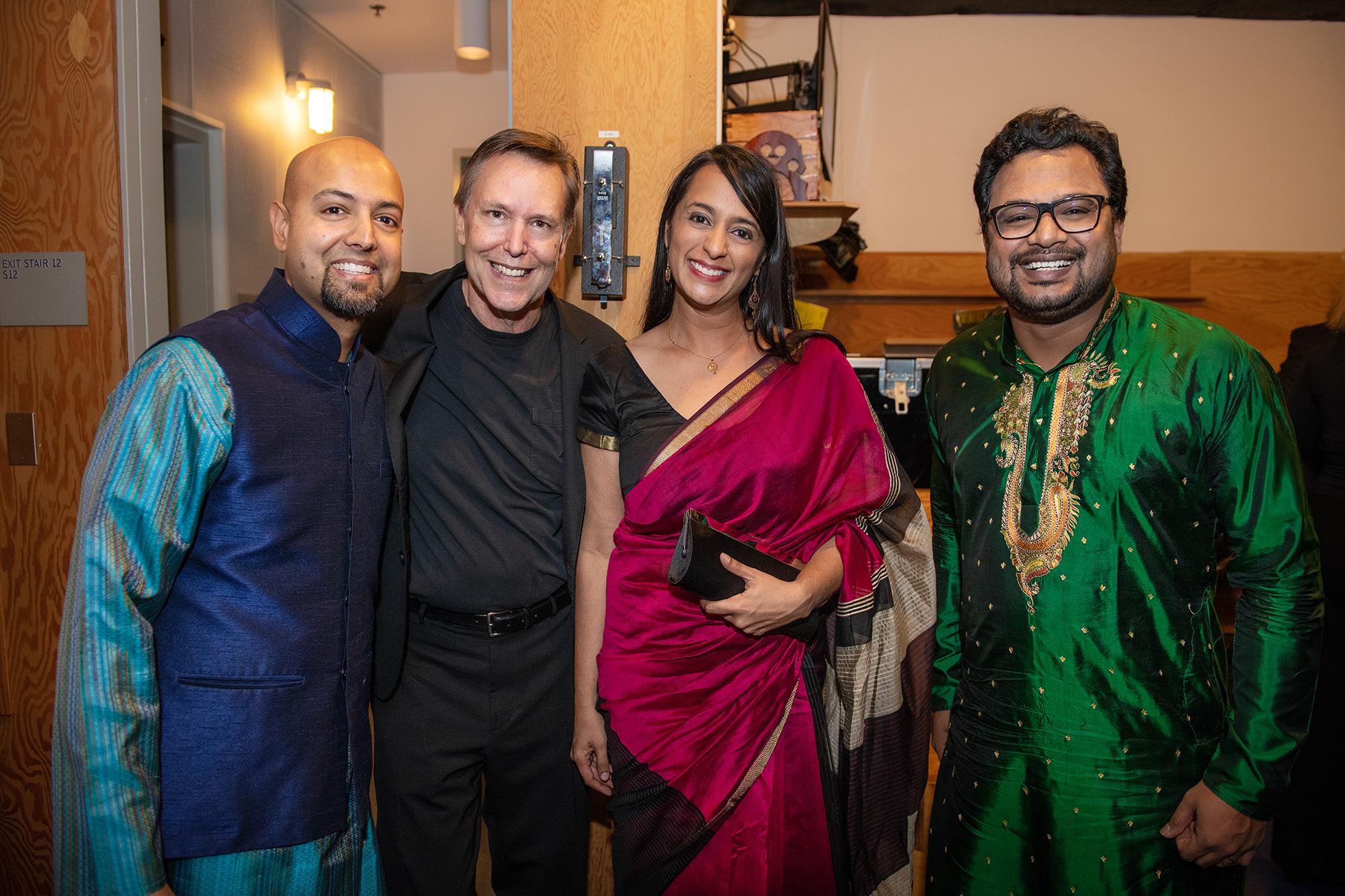 L-R: Robin Sukhadia (tabla), Grant Gershon (conductor), Reena Esmail (composer), and Rajib Karmakar (sitar) at Walt Disney Concert Hall November 18.