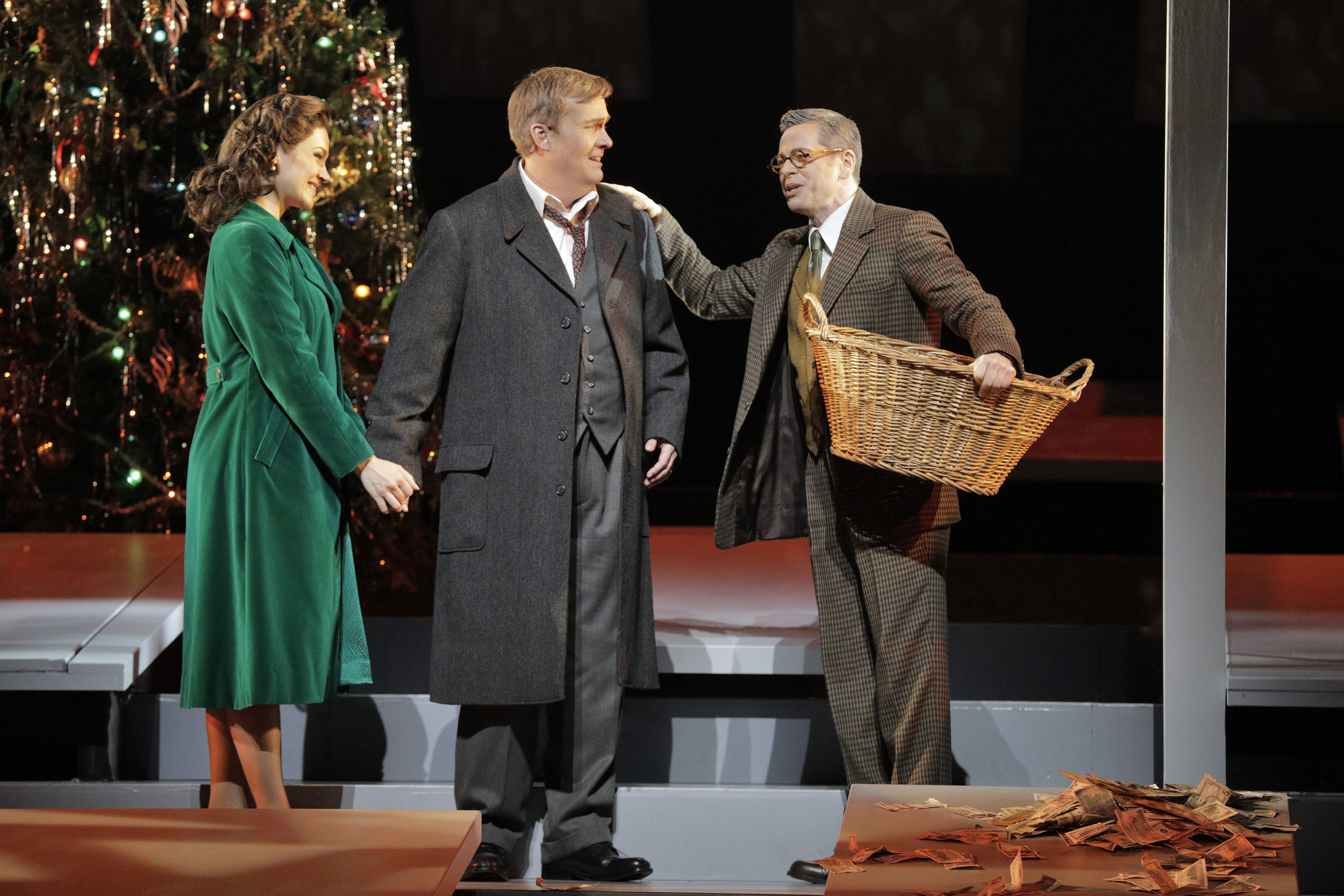 Andriana Chuchman as Mary Hatch, William Burden as George Bailey and Keith Jameson as Uncle Billy Bailey