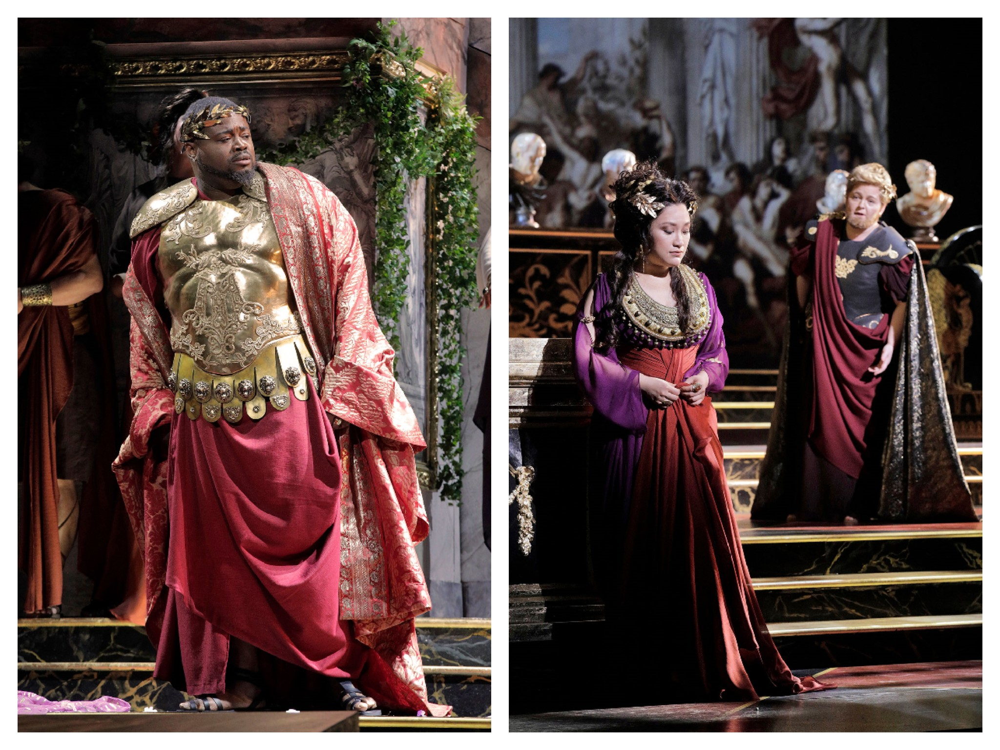 (L to R): Russell Thomas as Tito, Guangun Yu as Vitellia, Elizabeth DeShong as Sesto