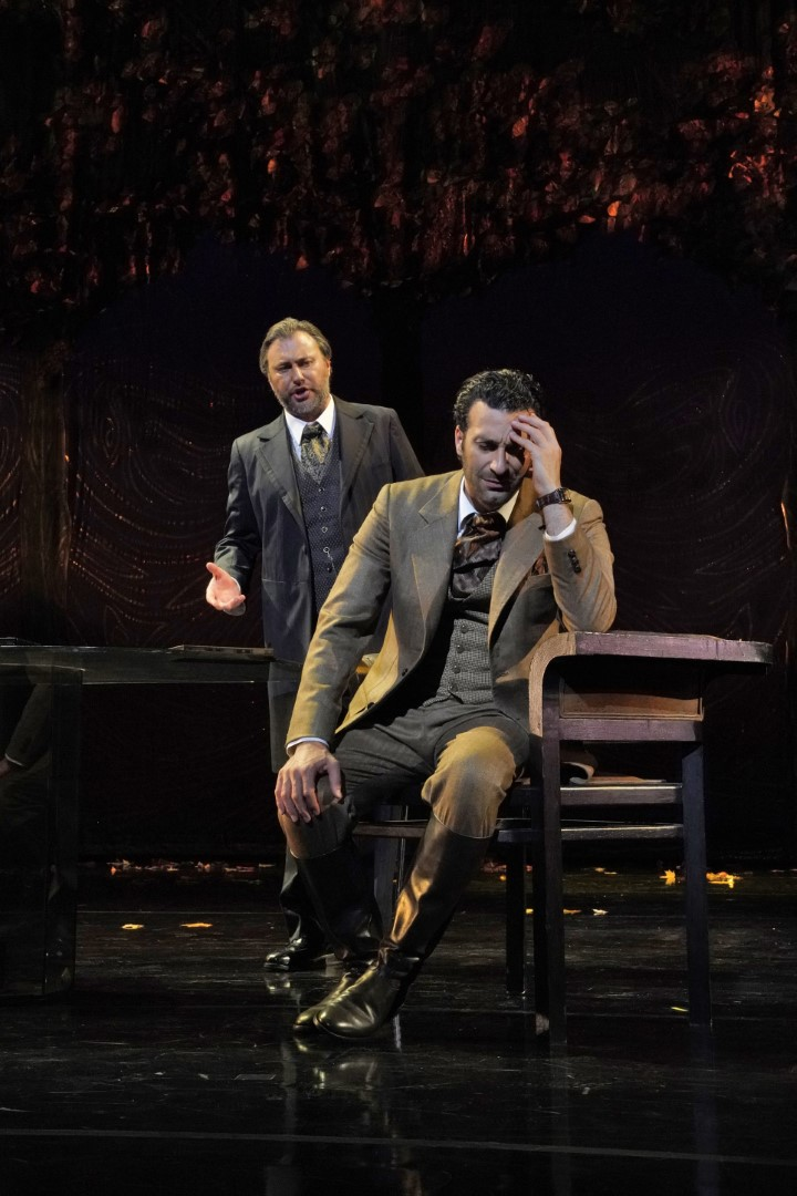 (L) Vitaly Bilyy as Germont, (R) Rame Lahaj as Alfredo