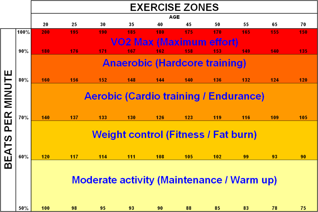 Fox and Haskell formula showing the split between aerobic (light orange) and anaerobic (dark orange) exercise and heart rate