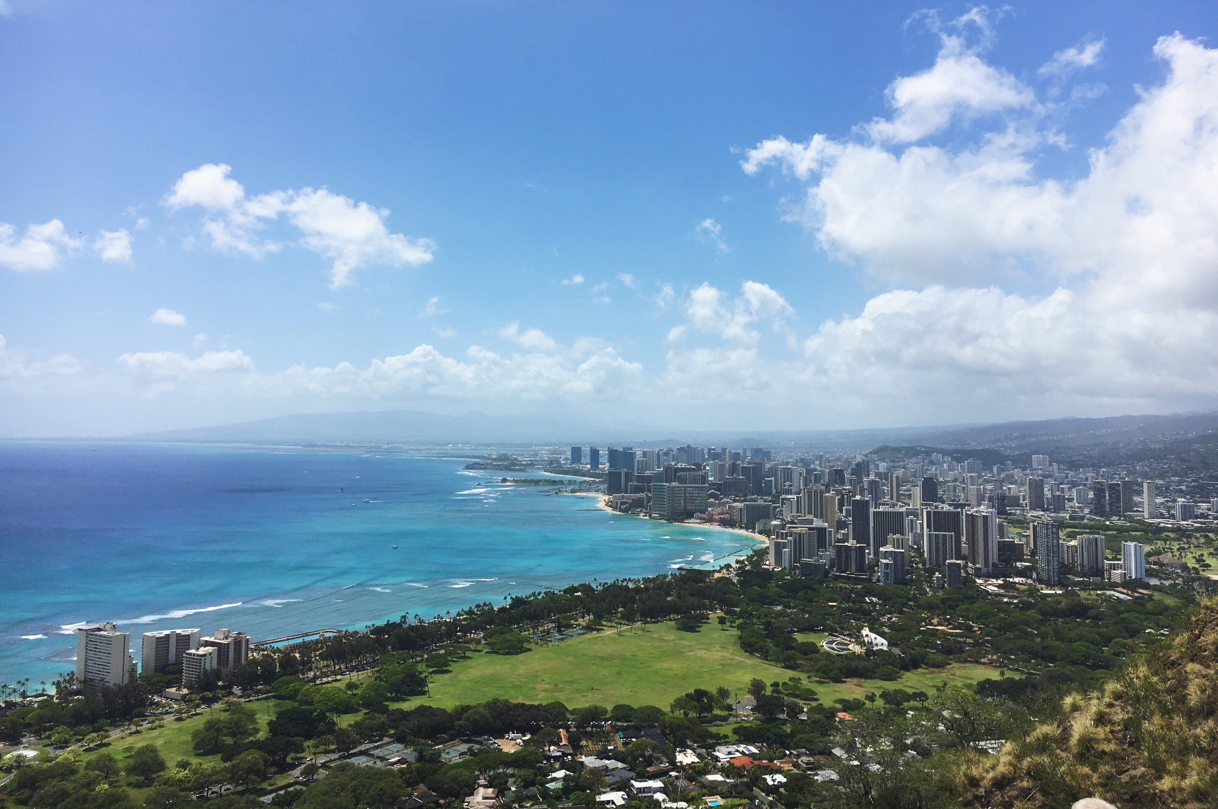 A view of Wakiki from the top of the Diamond Head hike