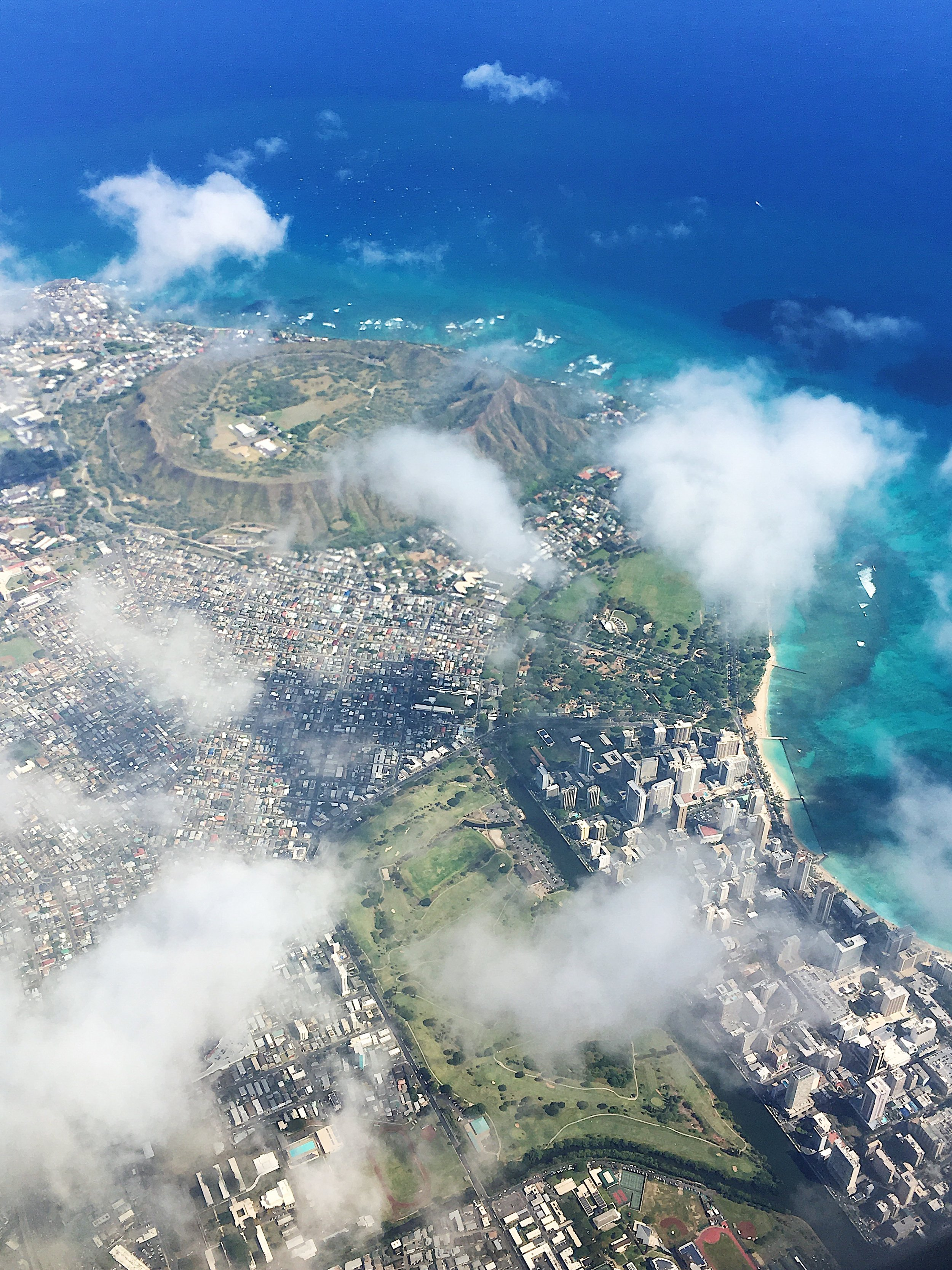 Diamond Head from the plane ride to Oahu
