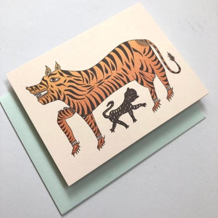 TIGER MOM GREETING CARD