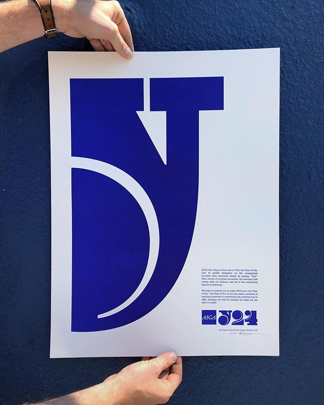Y24 AU + KA  I'm feeling a poster print week so how can I not include one of my favorite large scale prints we've done with the ultra designer, @arthkris for @aigadesign 💙 Ives Klein Blue for days on this one, which was tricky to actually print, as there's so many layers of ultramarine blue in Kleins paintings there has to be many layers of ink too. Honestly, I'm surprised they dried!  If you want a print in this closed edition we still have a few in our online shop…just follow the link in our profile to find them 👉