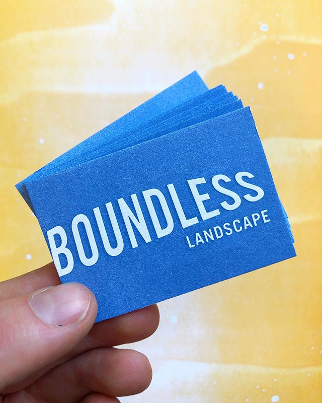 Crushing on these cards today 🌾 Custom letterpress business cards that have a great emboss since the blue is printed, not the white letters, which makes them pop out towards you!  Check out BoundlessLandscape.com to see their beautiful work~  Let us know if you'd like any custom design or letterpress, just DM, email or call 😎