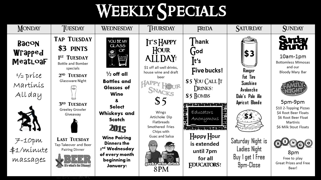 Tavern at St. Michael's Square Weekly Specials