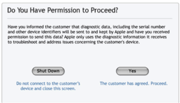 The initial screen shown here verifies that you have obtained your customer's permission to proceed running the diagnostic on his or her Mac.