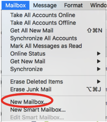 "In macOS Mail select ""Mailbox"" from the menubar and choose ""New Mailbox…"" from the dropdown menu."