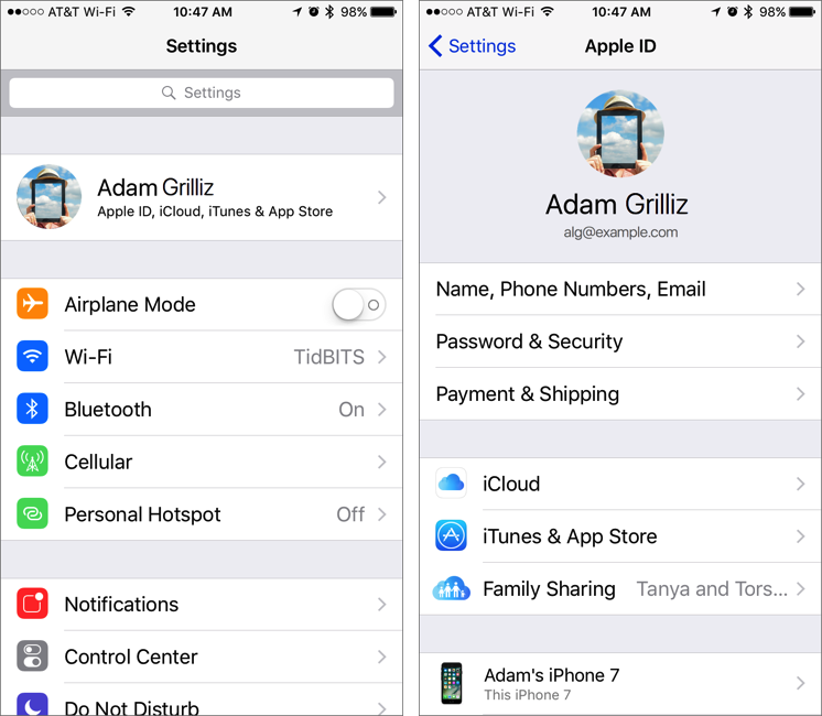 iOS 10 3 Moves iCloud and iTunes in the Settings App