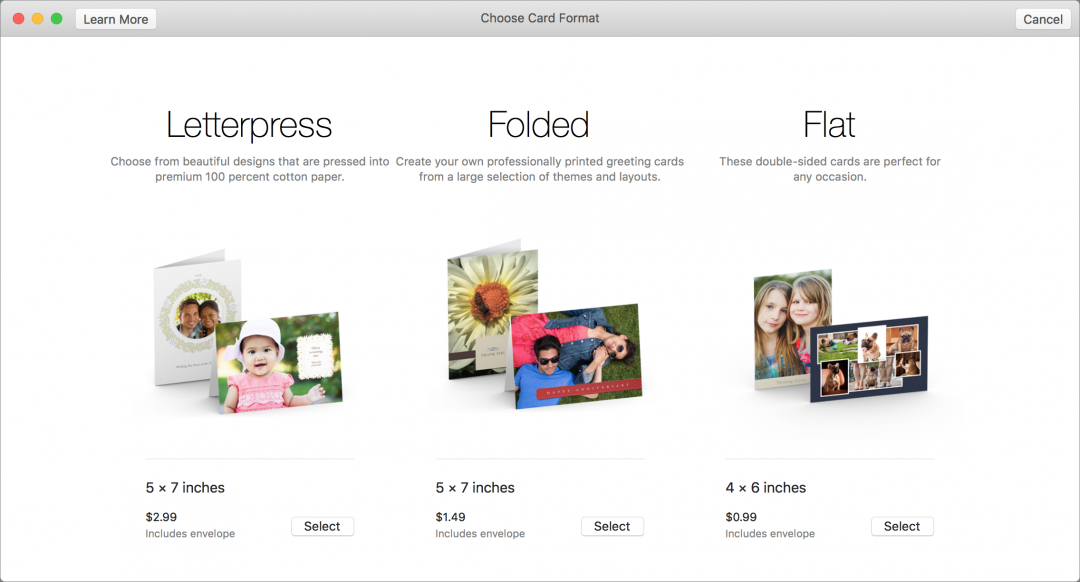 Create the card.  Select all the photos in your new album with Edit > Select All, and choose File > Create > Card. Then select one of the three choices: a 5×7 folded letterpress card for $2.99 each, a 5×7 folded card for $1.49 each, or a 4×6 flat double-sided card for $0.99 each. They all include envelopes.