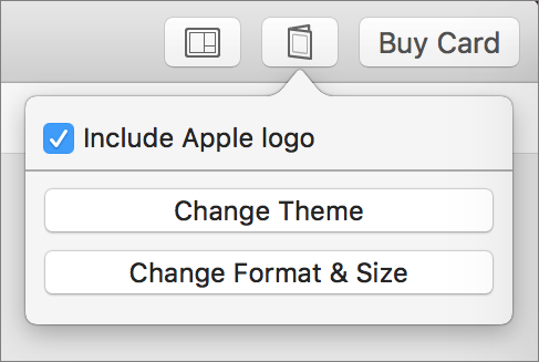 It's easy to change your choices while working on the card by clicking the button next to Buy Card.