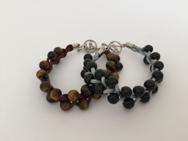 Tiger eye beads, onyx beads, satin cord, silver.