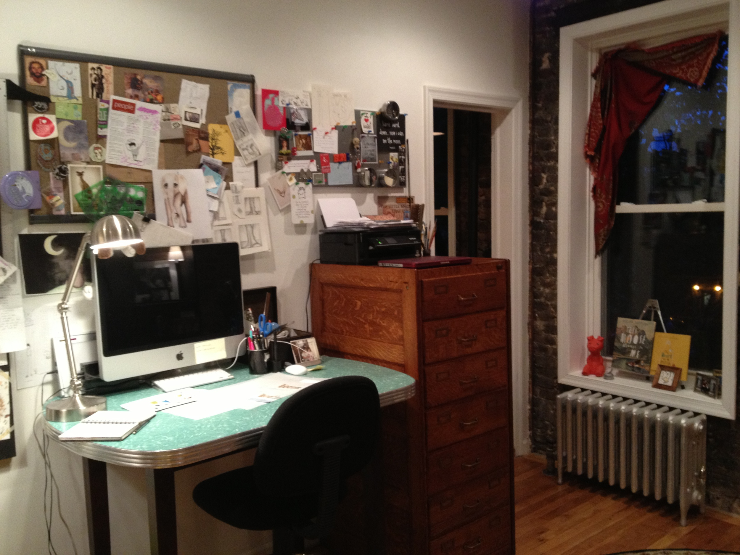 My desk at home in the East Village.