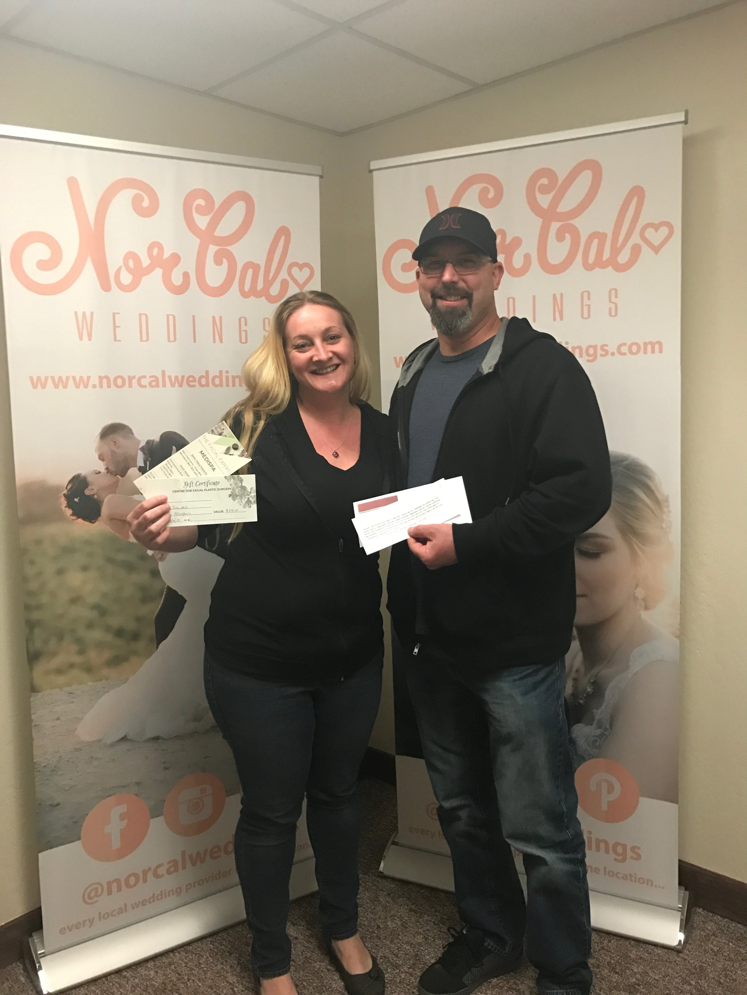 Congratulations to Amy and David with winning gift certificates for golf from  The White House at Churn Creek Golf Course  and a micro peal session from  The Facial Experts - Dr Randy Tate, MD  Amy and David's Wedding date is 9/30/17