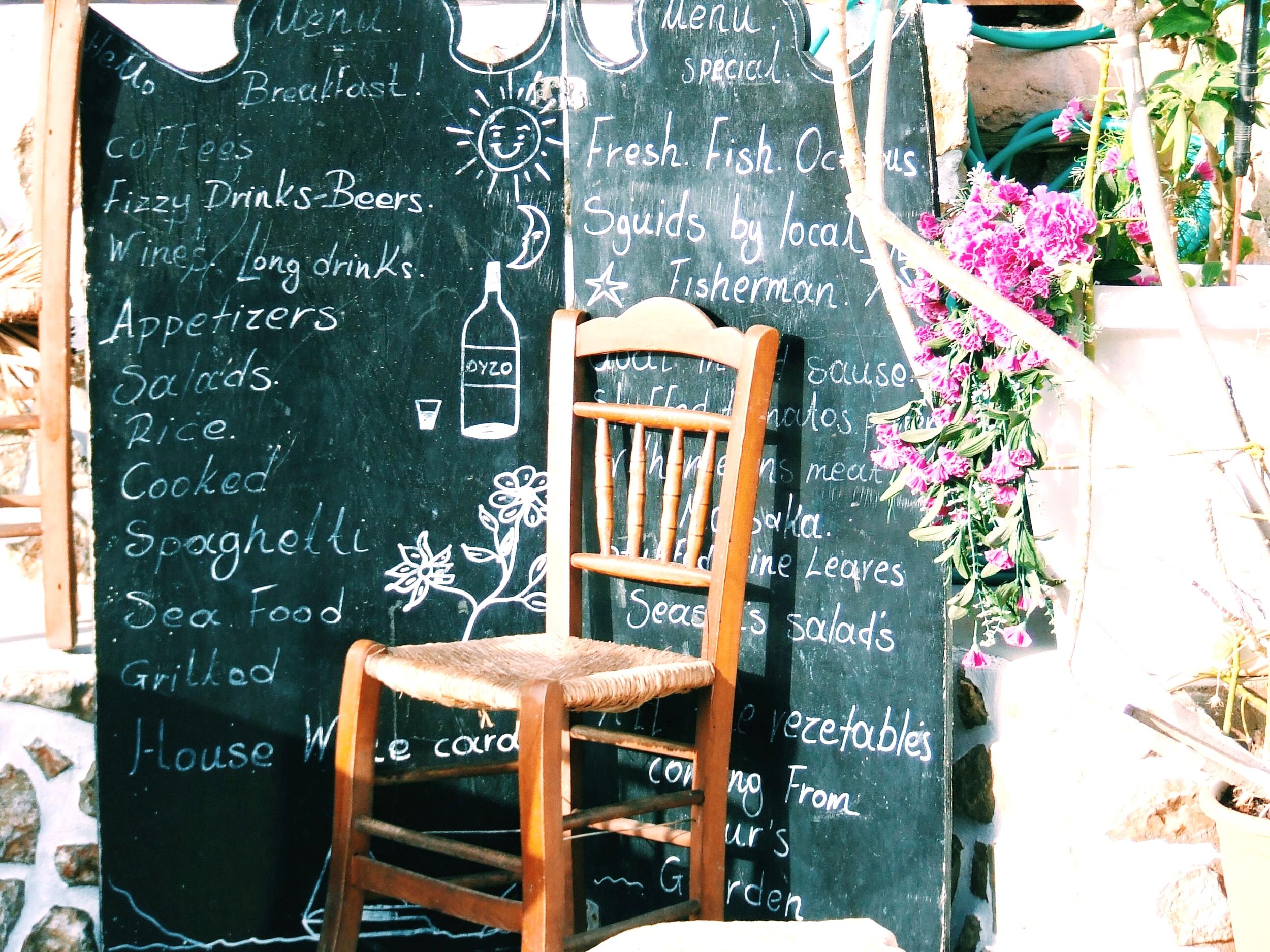 Menu board outside the taverna.