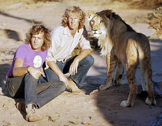 John Rendall, Ace Bourke and Christian the Lion in the 1970s.
