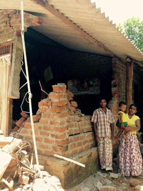 Twice in one week, an elephant visited this home at night while the family were sleeping inside - breaking down the entire wall to try and access rice harvest stored inside