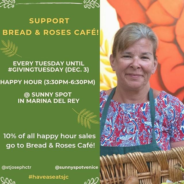 Join us for happy hour every Tuesday and support bread and roses cafe in Venice. We are offering a special Happy Hour menu featuring fresh cocktails for $8. Together let's support St. Joseph's have a seat campaign to help continue providing hot meals and warm smiles to our neighbors in Venice experiencing homelessness  #givingtuesday