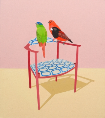 Three Squared  (2009) Acrylic on canvas 46 x 41 cm