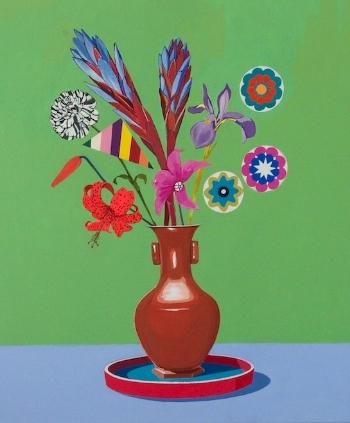 Wildflower Celadon  (2014) Acrylic on canvas 78 x 68 cm