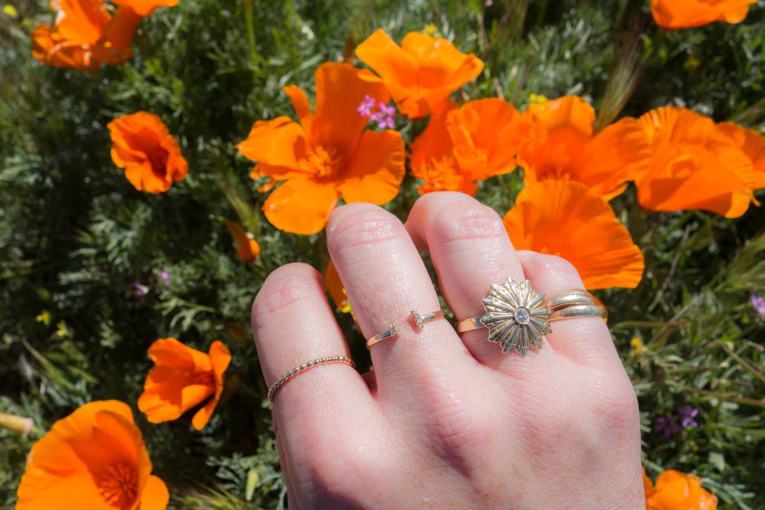 Had to take a ring selfie! Shown L-R my  Sidewell  ring,  Diamond Bar  ring, and my  Diamond starburst  ring.