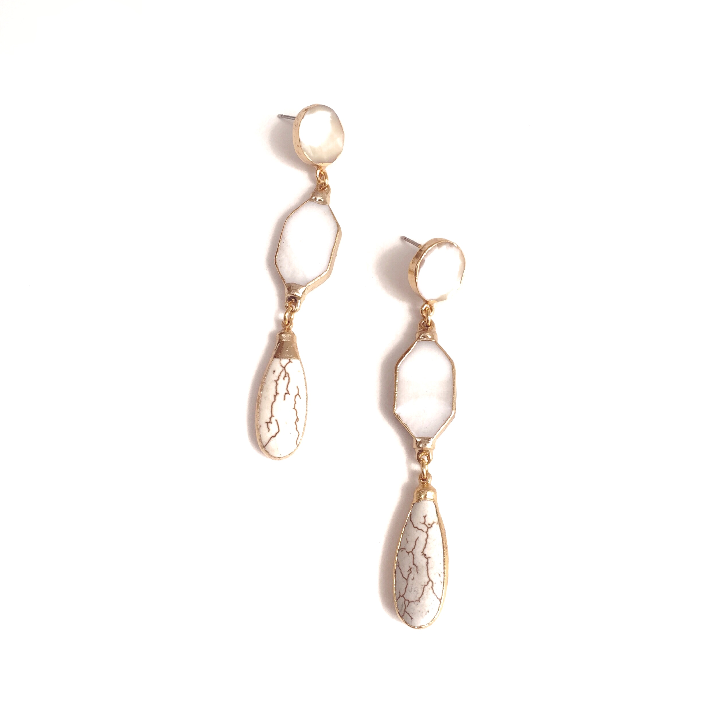 Janna Conner Adeline Earrings in Mother of Pearl and Howlite