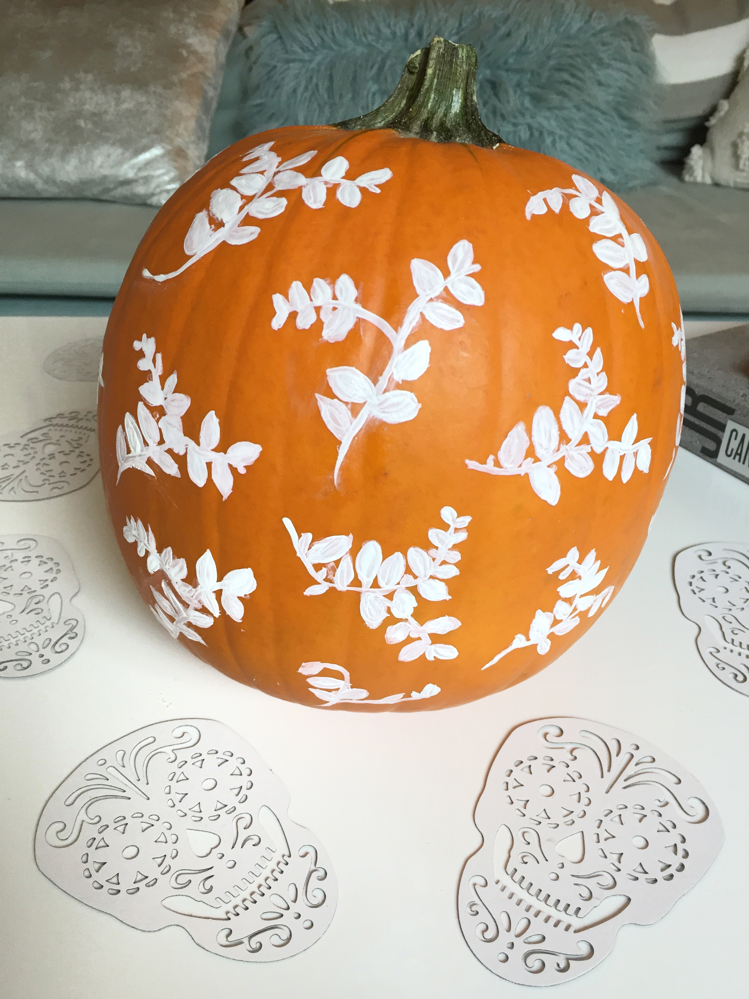 Leaf stamp, then free painted with white acrylic paint