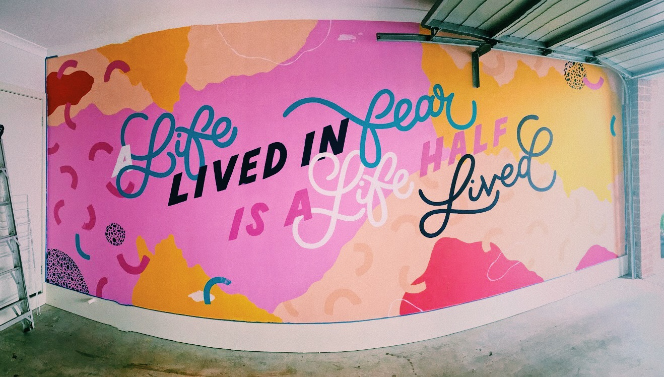 Kate's finished mural on her garage wall.