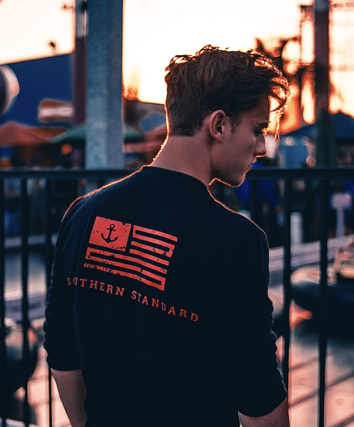 The American - Black / Red Long Sleeve Tee