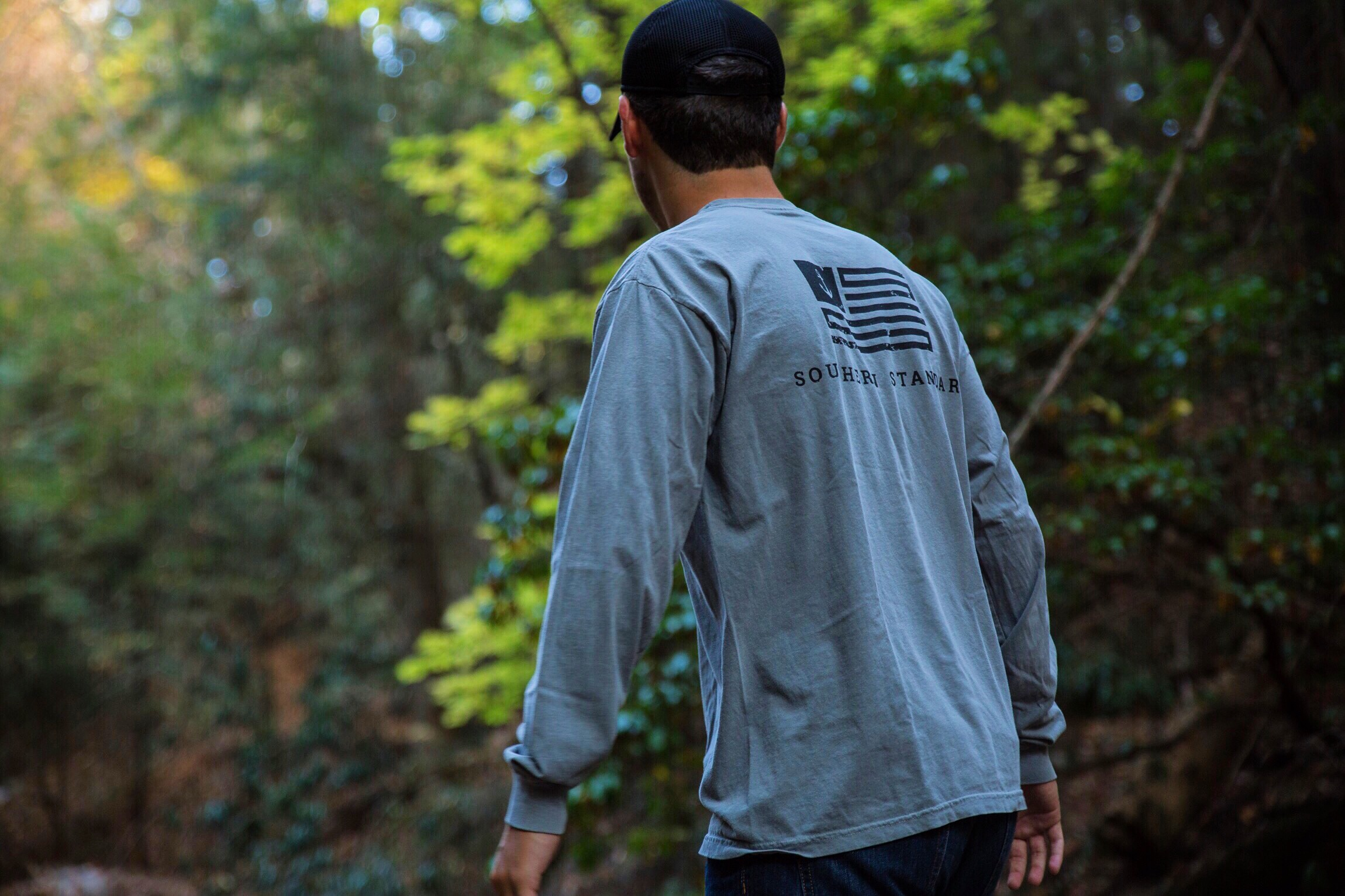 The American - Grey / Black Long Sleeve Tee