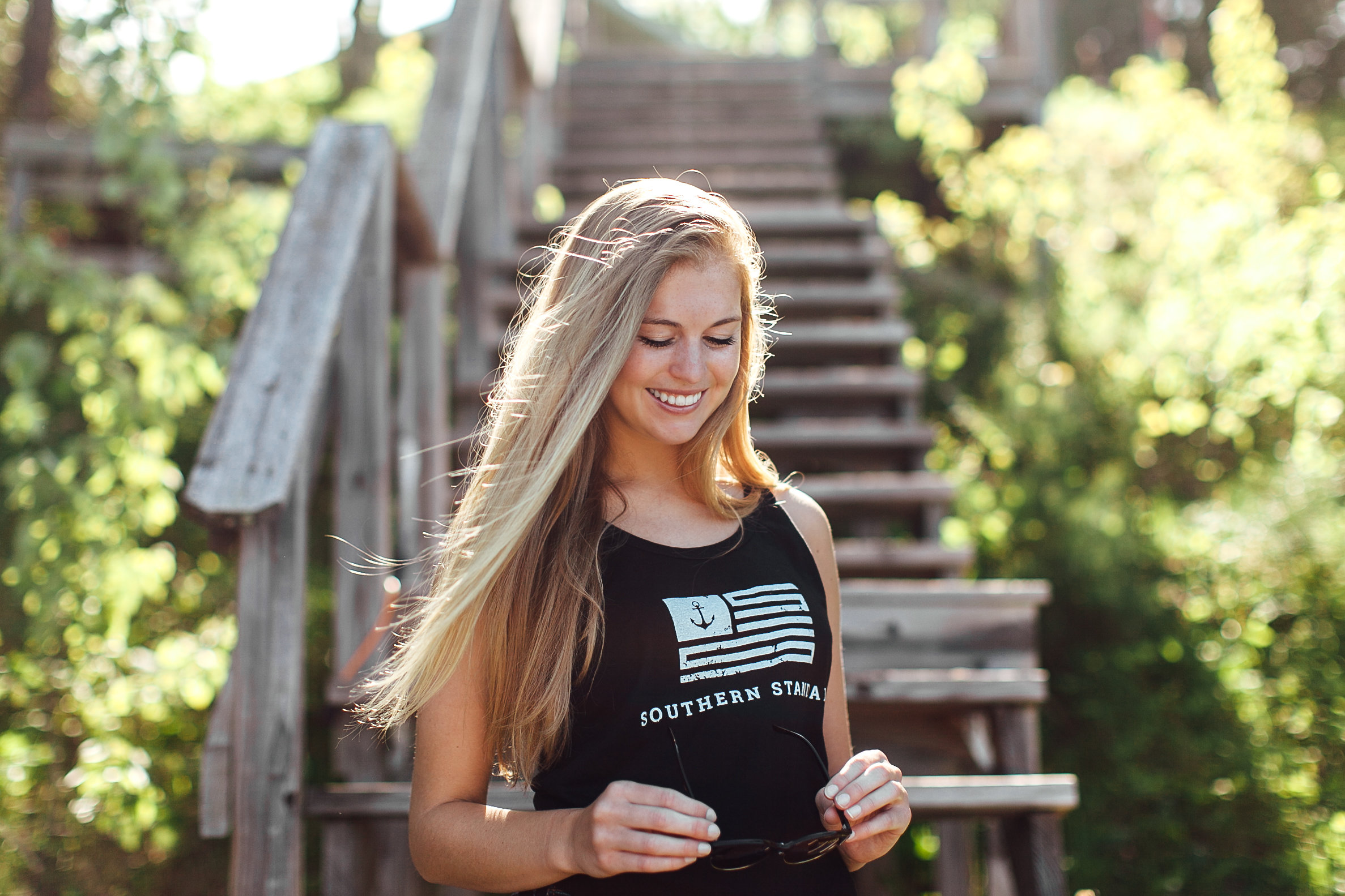 The Old Glory - Black / Faded White Bamboo Tank Top