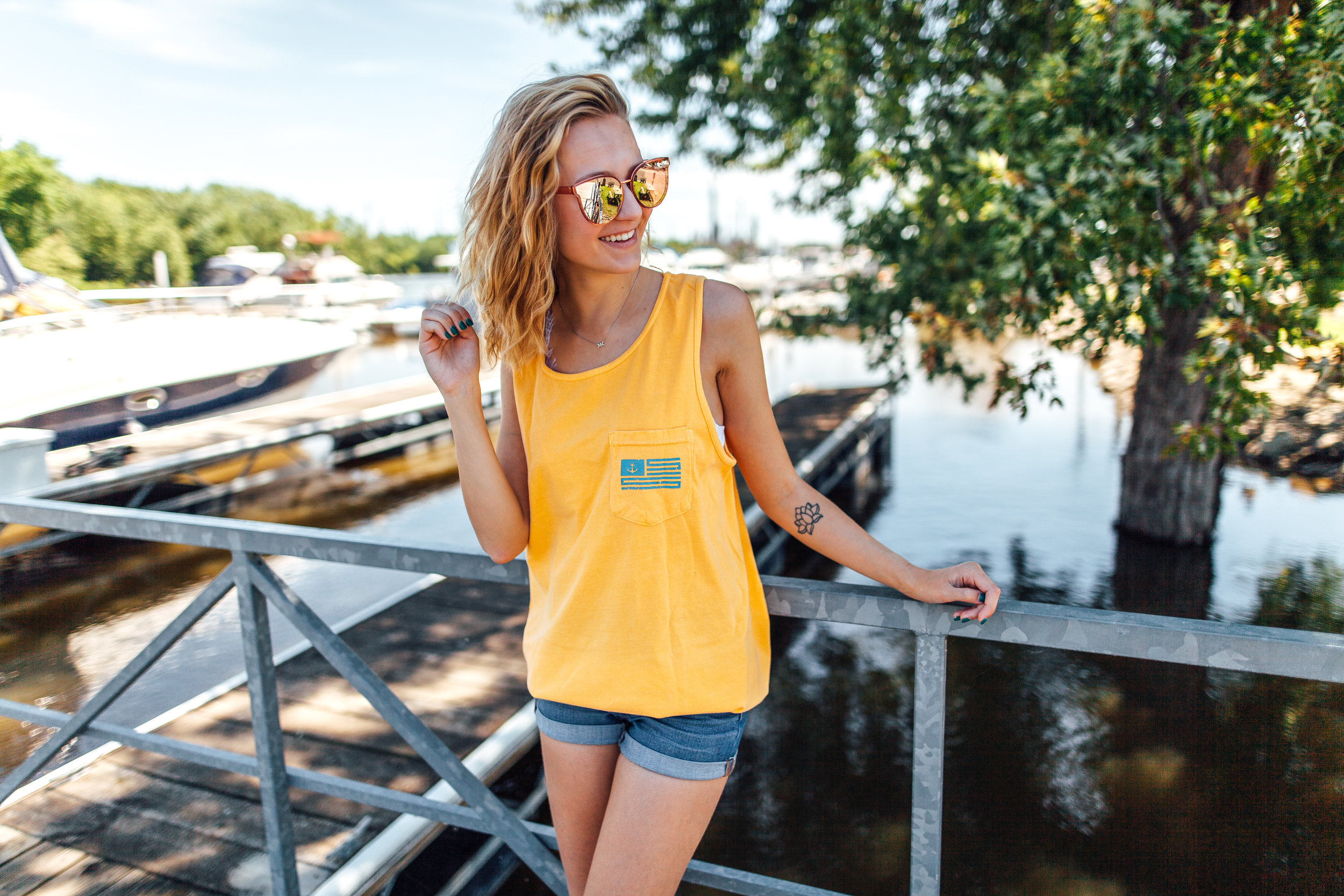 The American - Yellow / Light Blue Tank Top