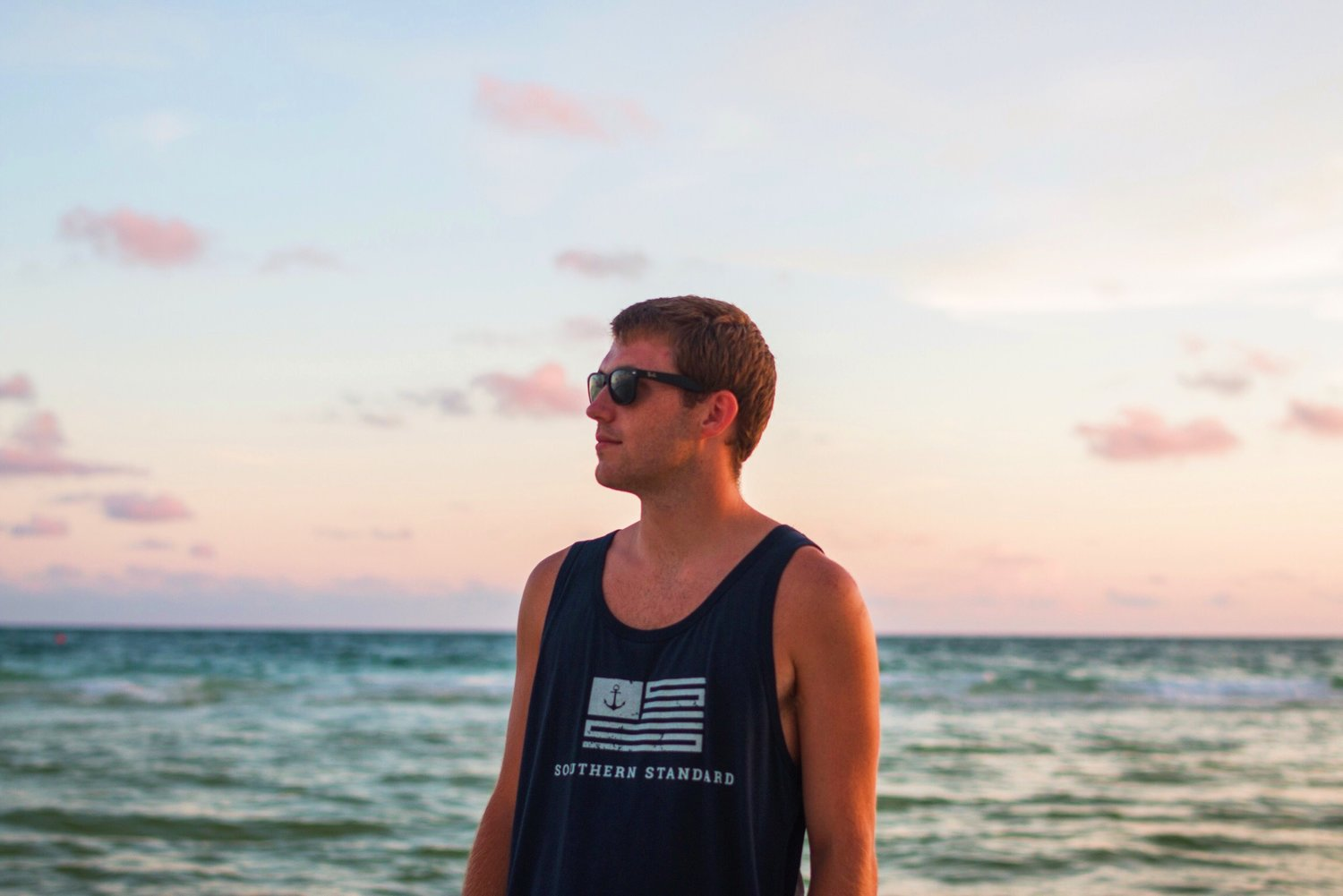 The Old Glory - Navy / Faded White Bamboo Tank Top