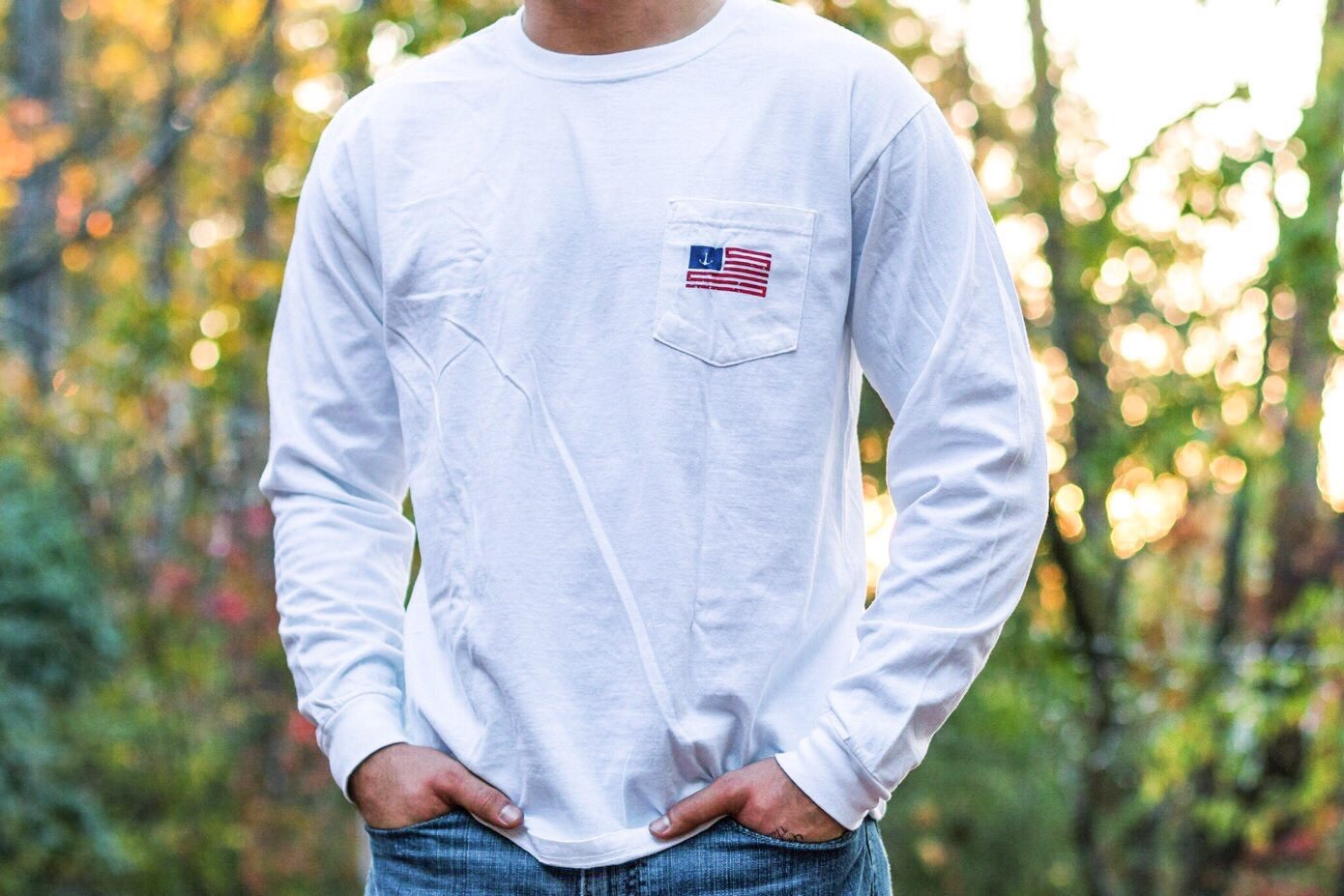 The American - White / Red & Blue Long Sleeve Tee