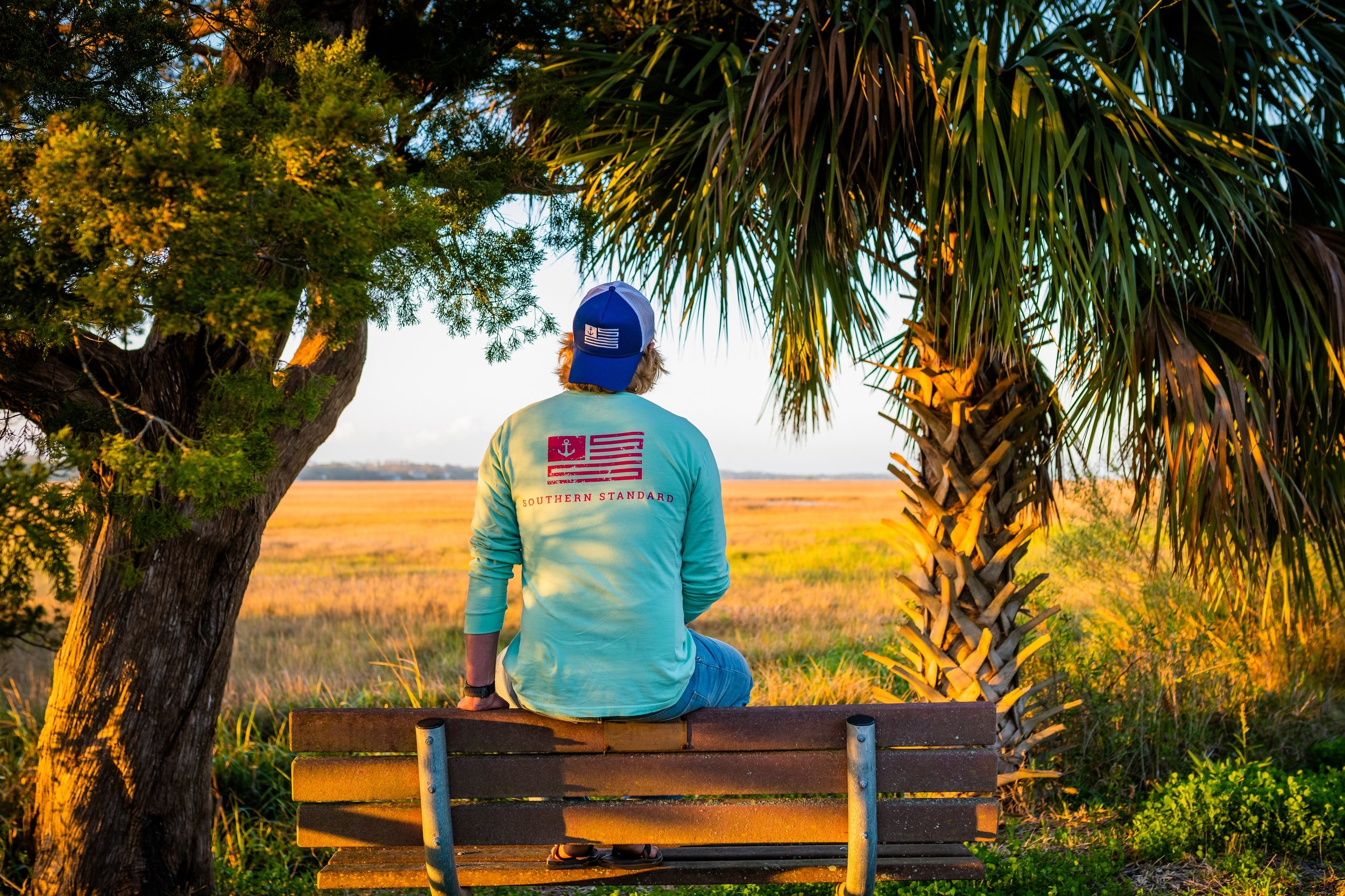 The American - Island Reef / Berry Long Sleeve Tee and Castaway Trucker Hat