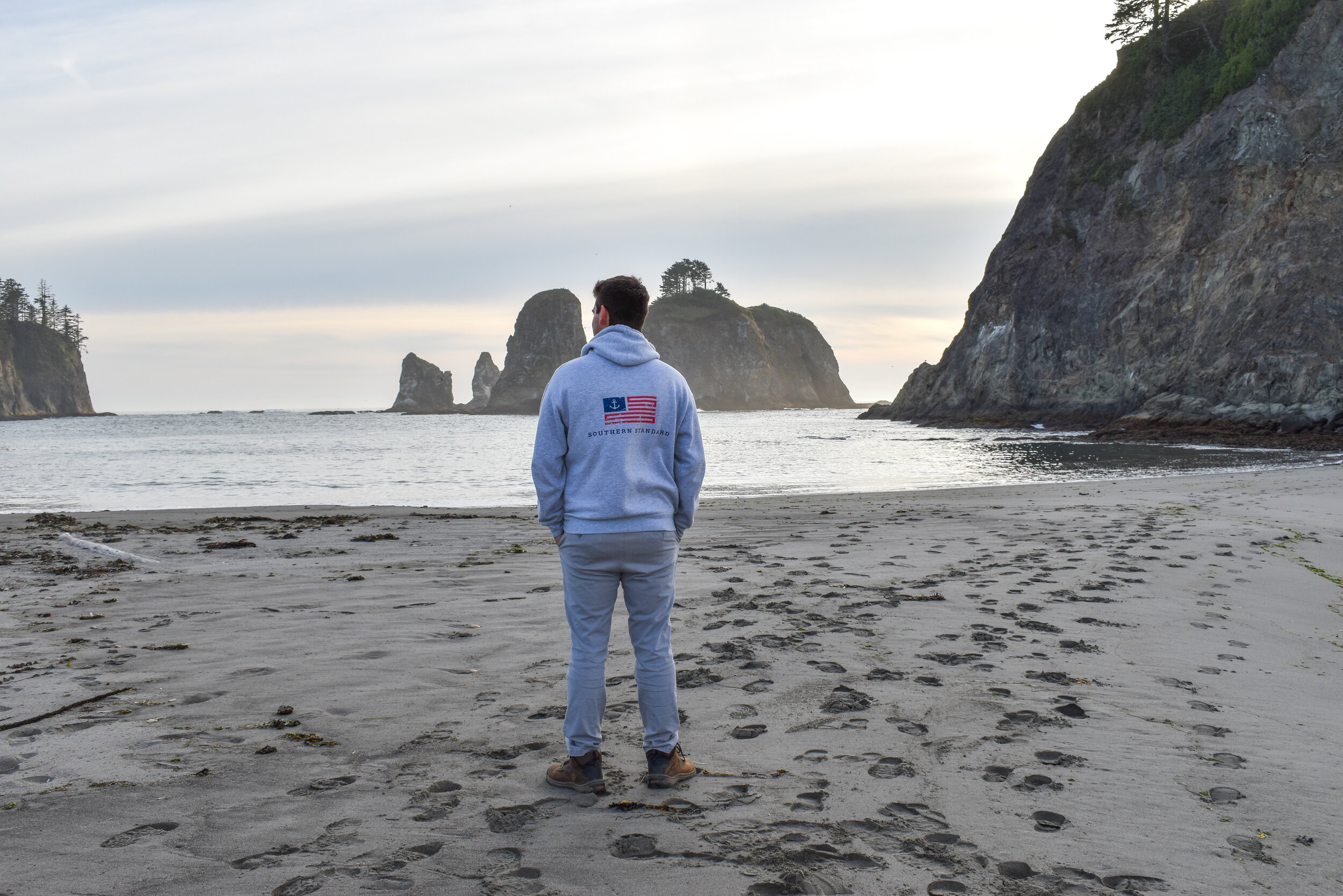 Hoodie - Heather Grey / Red and Blue
