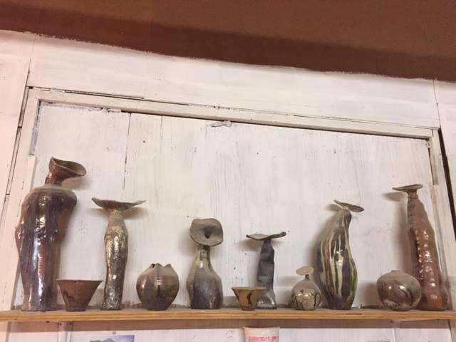 Handbuilt pots posing in my studio . . . .