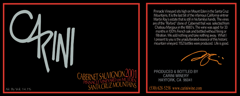 RE-RELEASED! THIS IS DRINKING JUST AMAZINGLY RIGHT NOW. CLASSIC SANTA CRUZ CABERNET AT ITS BEST!