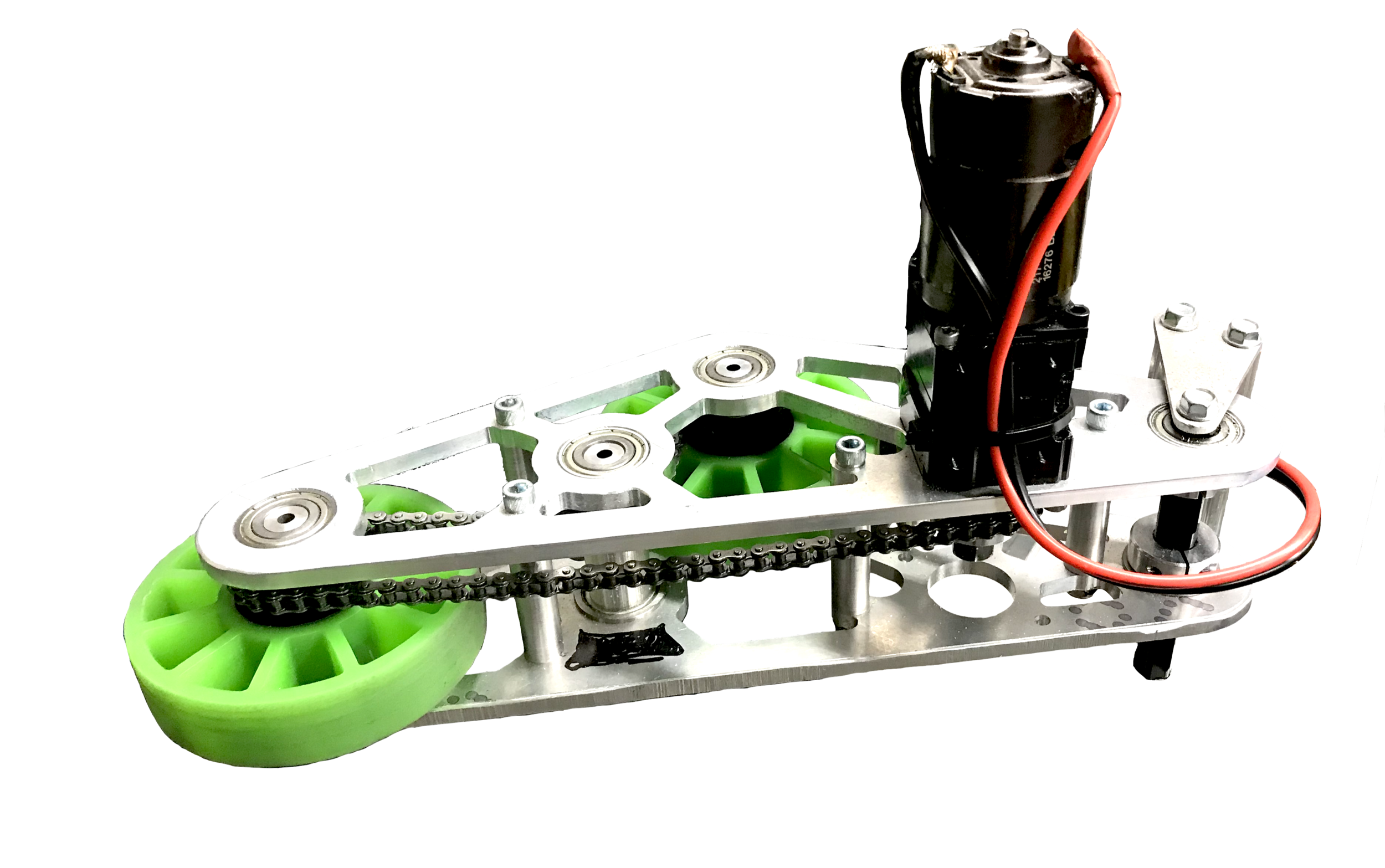 The Intake - Designed by our members, this intake system serves to wheel in boxes on the field in any orientation, and toss them a short distance to insert into the Exchange Zone