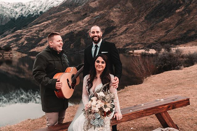 I flew to New Zealand to play Jacob and Skii's wedding right beside Moke Lake a few weeks ago. It was a good time 🙌🏻Congratulations again to you both! ❄️