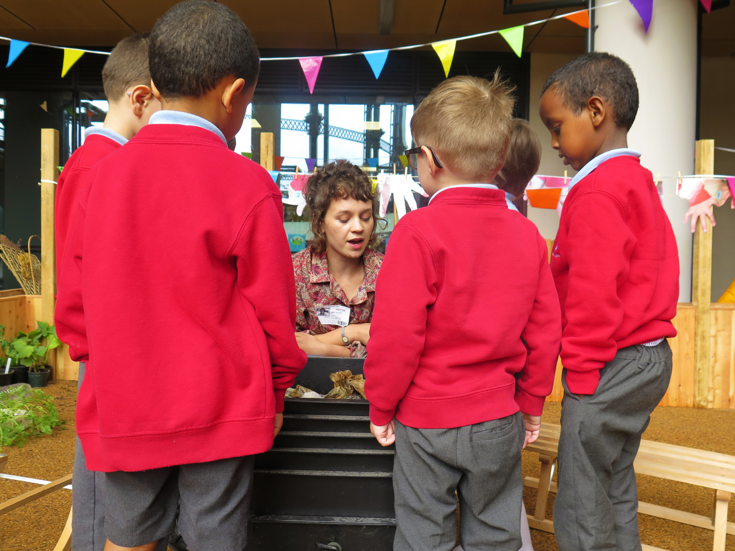Showing the pupils the womery - the Worm Tea made by out wiggly friends will be used to feed the plants!