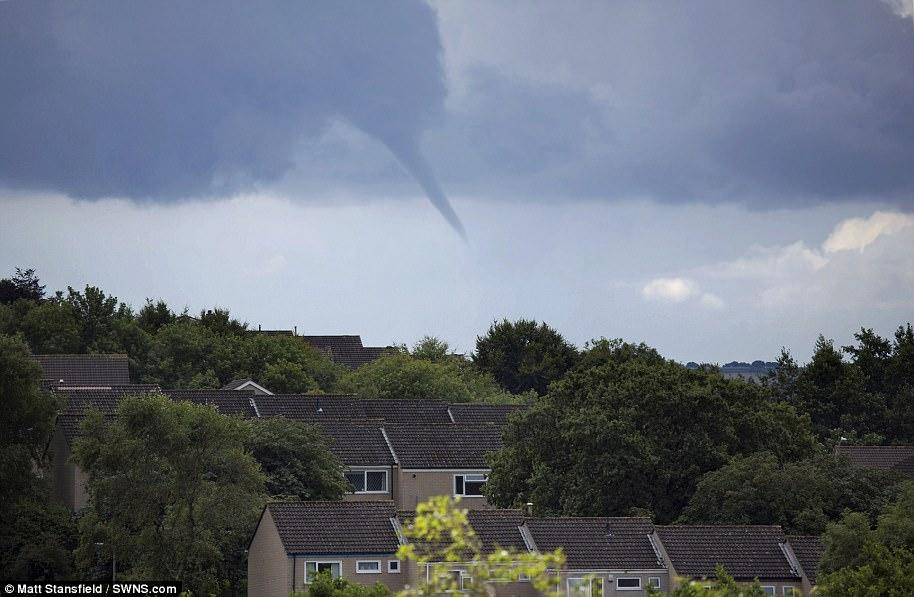 A funnel cloud over Cornwall, first stage of making a tornado
