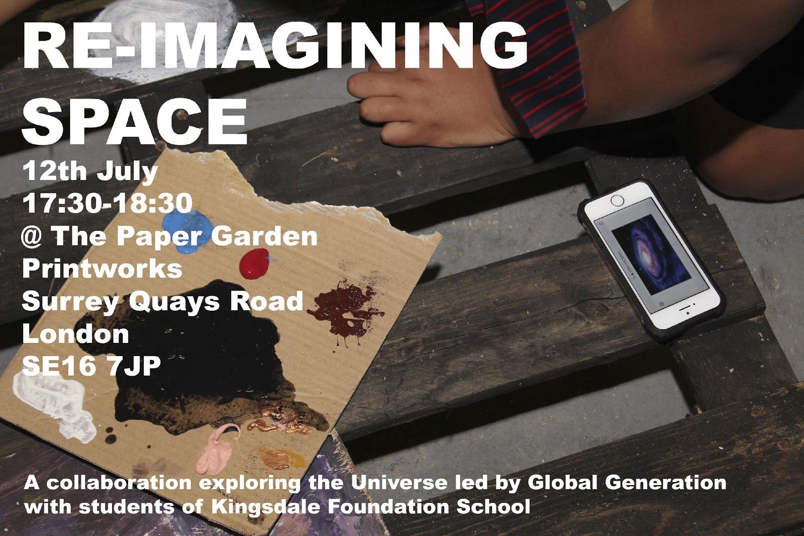 """The Flyer created, advertising the student's presentation. The event and the sessions were framed as """"Re-imagining Space"""""""