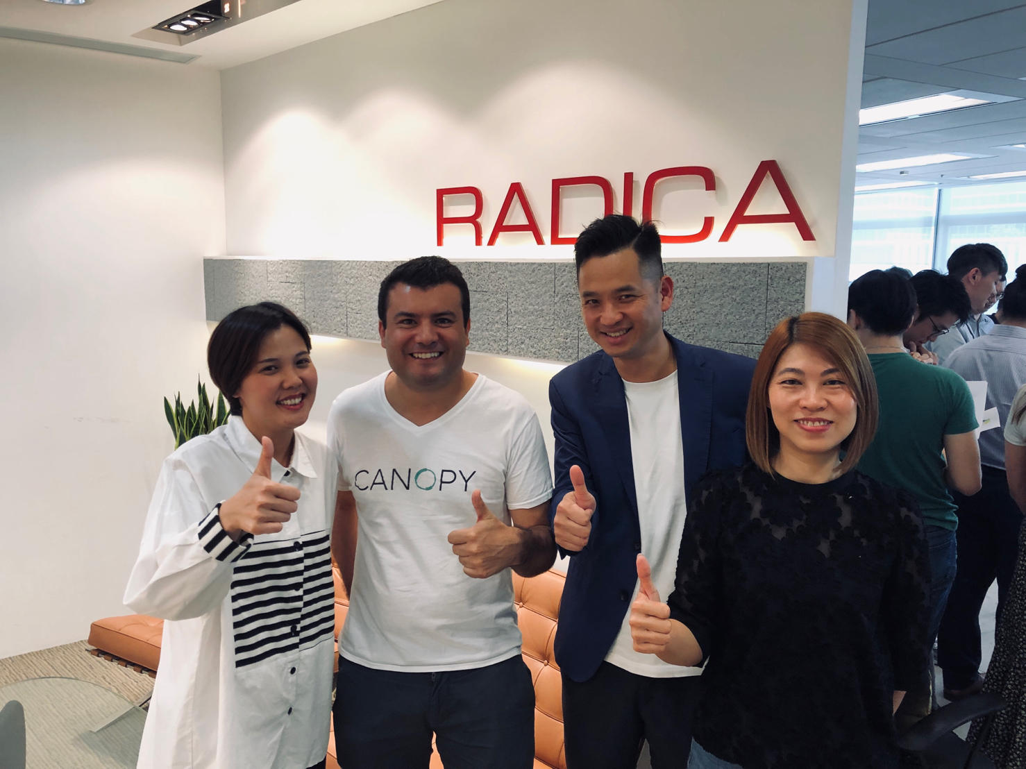 Wallis Chan, Managing Director of RADICA, Julio Orr of Canopy, Francis Kwok, Founder and Chairman of RADICA, & Irene Cheung, Co-Founder of RADICA, pose for a picture in our Hong Kong headquarters