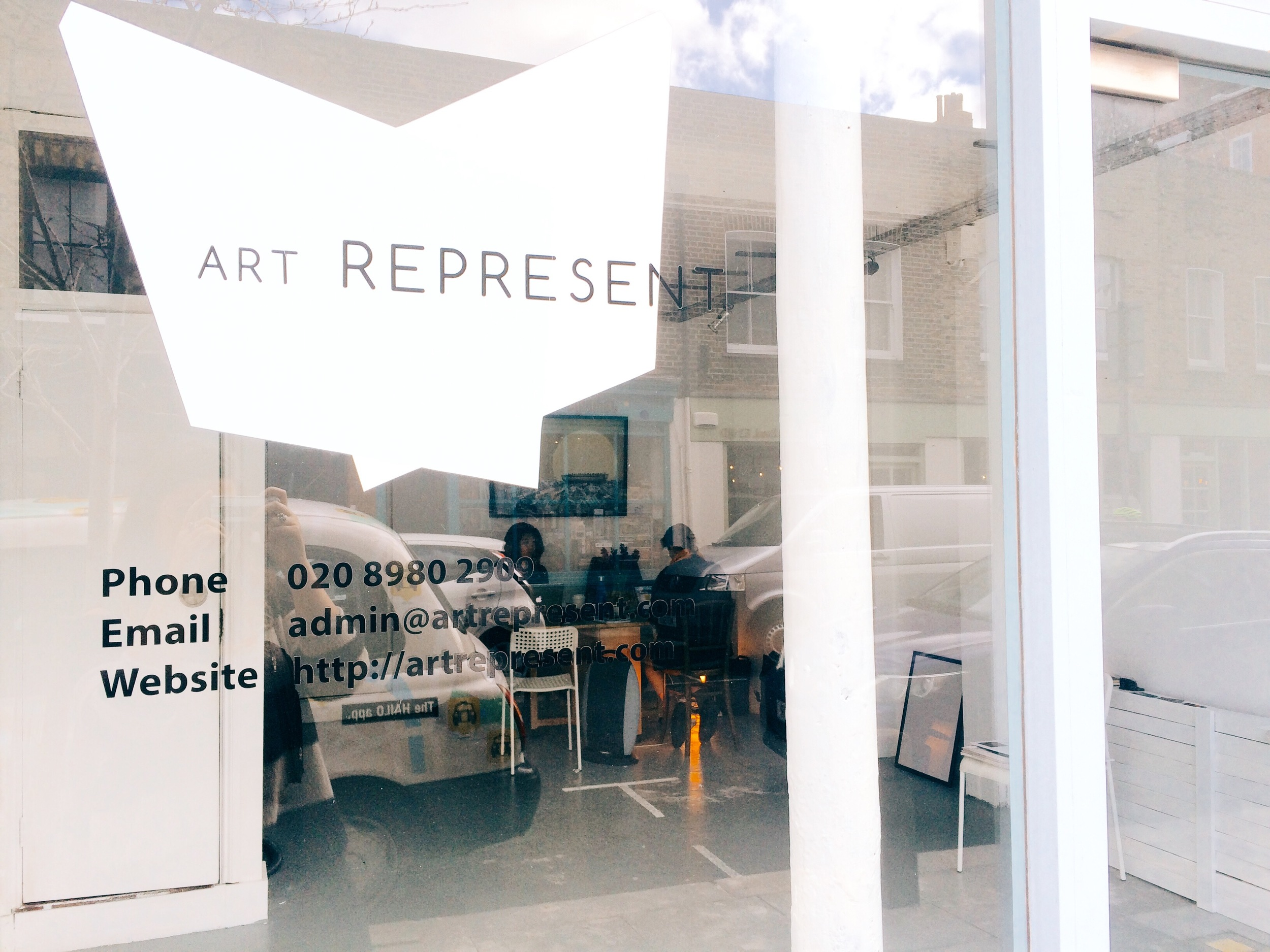 Art Represent's Baiqu & Charlotte at work in our gallery space in Bethnal Green