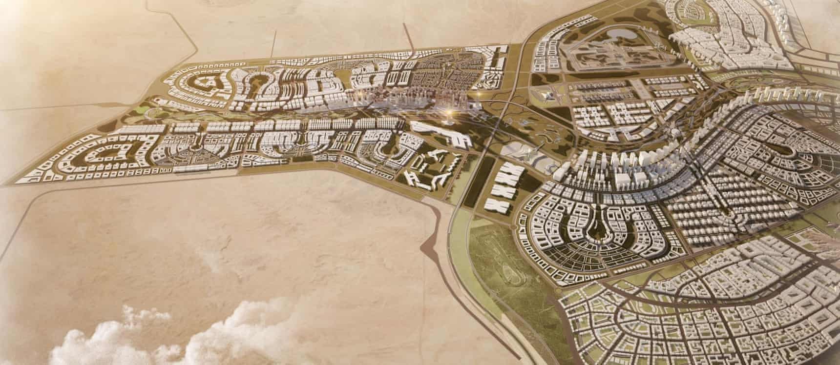 A graphic of the new Egyptian capital shows completed residential districts, as well as the planned tallest building in Africa at 345 metres high. Photograph: ACUD