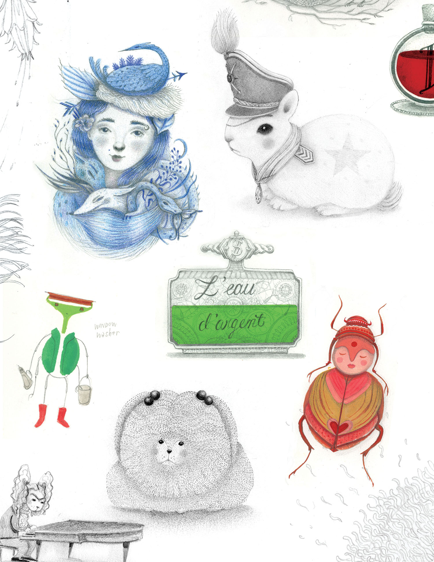 Some of my little drawings that will appear in my upcoming book project.