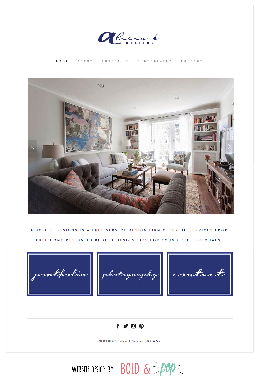 Bold & Pop : Alicia B. Designs Website Design