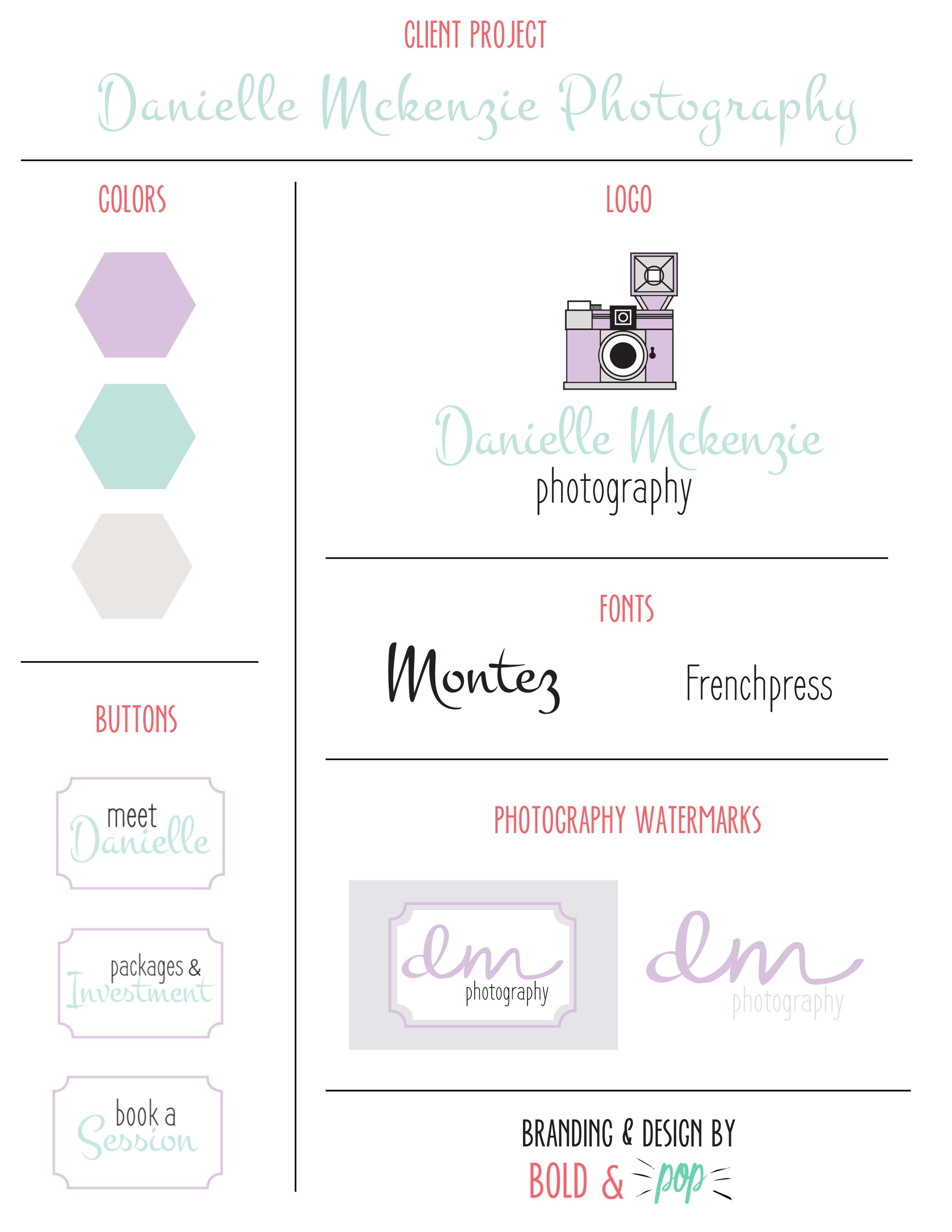 Bold & Pop : Danielle Mckenzie Photography Branding & Website Design